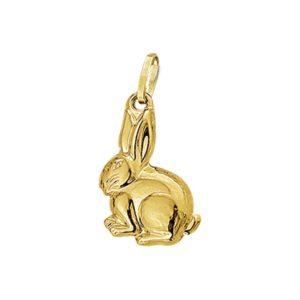 14 krt geelgouden Bedel konijn model. 4001898