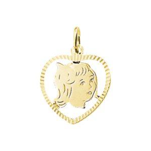 14 krt geelgouden Bedel meisje hart gediamanteerd model. 4005841