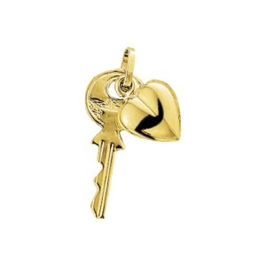 14 krt geelgouden Bedel sleutel en hart model. 4003245