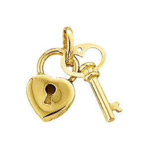 14 krt geelgouden Bedel sleutel en slot model. 4009744