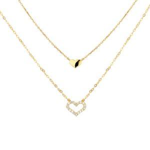 14 krt geelgouden Collier hart 0