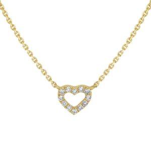 14 krt geelgouden Collier hart diamant 0.05ct H P1 1mm 41-43-45 cm model. 4018655
