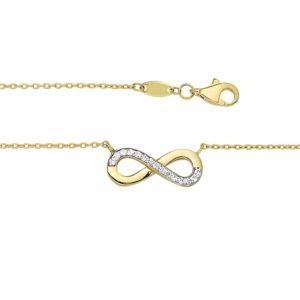 14 krt geelgouden Collier infinity zirkonia 1