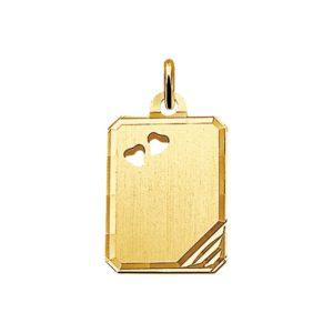 14 krt geelgouden Graveerhanger hanger mat gediamanteerd model. 4006087