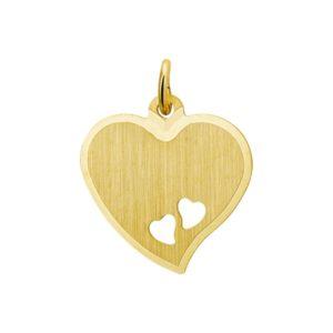 14 krt geelgouden Graveerhanger hart mat gediamanteerd model. 4017190