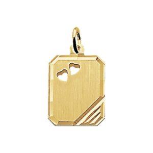 14 krt geelgouden Graveerhanger harten mat gediamanteerd model. 4006004