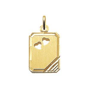 14 krt geelgouden Graveerhanger harten mat gediamanteerd model. 4006036