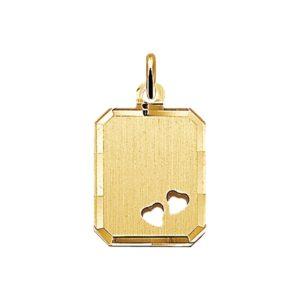 14 krt geelgouden Graveerhanger harten mat gediamanteerd model. 4006069