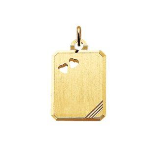 14 krt geelgouden Graveerhanger harten mat gediamanteerd model. 4006091