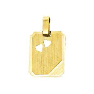 14 krt geelgouden Graveerhanger harten mat gediamanteerd model. 4013233