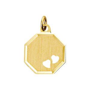 14 krt geelgouden Graveerhanger harten mat gediamanteerd model. 4013237