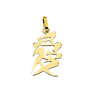 14 krt geelgouden Hanger Chinees teken liefde model. 4001627