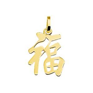 14 krt geelgouden Hanger Chinees teken veel geluk model. 4001629