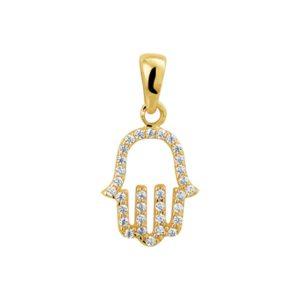 14 krt geelgouden Hanger Fatima hand zirkonia model. 4018741