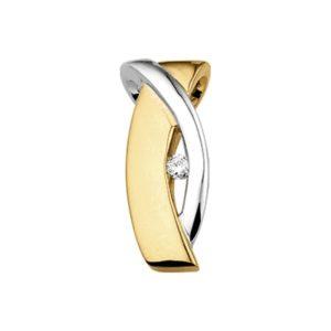 14 krt geelgouden Hanger diamant 0.05ct H SI model. 4011012