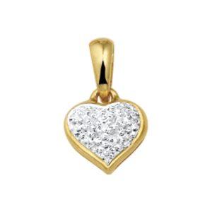 14 krt geelgouden Hanger hart diamant 0.005ct H VSI model. 4007709