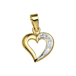14 krt geelgouden Hanger hart diamant 0.018 ct. model. 4005762