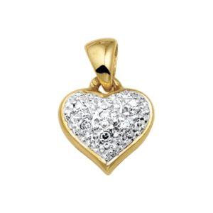 14 krt geelgouden Hanger hart diamant 0.03ct H VSI model. 4005768