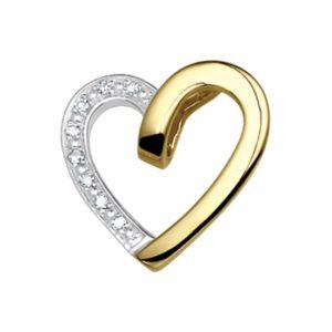 14 krt geelgouden Hanger hart diamant 0.040 ct. model. 4009611