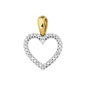 14 krt geelgouden Hanger hart diamant 0.10ct H SI model. 4016773