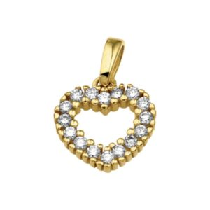 14 krt geelgouden Hanger hart diamant 0.25 ct. model. 4013043