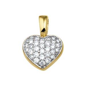 14 krt geelgouden Hanger hart diamant 0.33 ct. model. 4012500