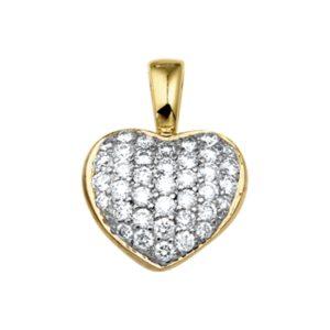 14 krt geelgouden Hanger hart diamant 0.50 ct. model. 4012501