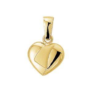14 krt geelgouden Hanger hart poli/mat model. 4005740