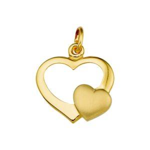14 krt geelgouden Hanger hart poli/mat model. 4013756