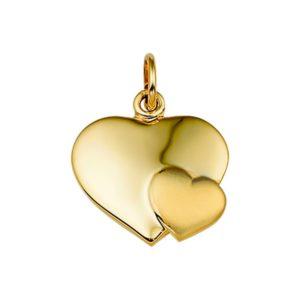 14 krt geelgouden Hanger hart poli/mat model. 4013757