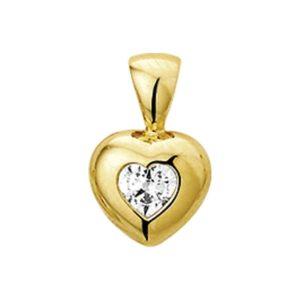 14 krt geelgouden Hanger hart zirkonia model. 4005749