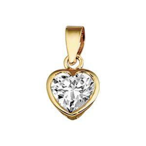14 krt geelgouden Hanger hart zirkonia  model. 4005750