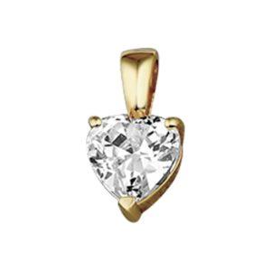 14 krt geelgouden Hanger hart zirkonia model. 4005751