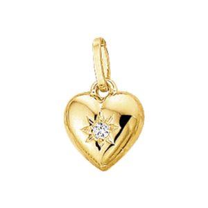 14 krt geelgouden Hanger hart zirkonia model. 4005752