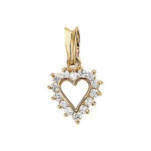 14 krt geelgouden Hanger hart zirkonia model. 4005756