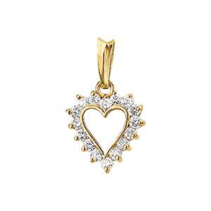 14 krt geelgouden Hanger hart zirkonia model. 4005757