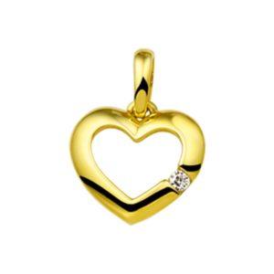 14 krt geelgouden Hanger hart zirkonia  model. 4016131
