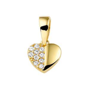 14 krt geelgouden Hanger hart zirkonia  model. 4016720