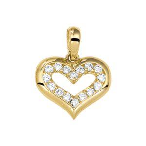 14 krt geelgouden Hanger hart zirkonia  model. 4016961