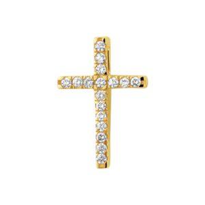 14 krt geelgouden Hanger kruis diamant 0.15 ct.  model. 4018108