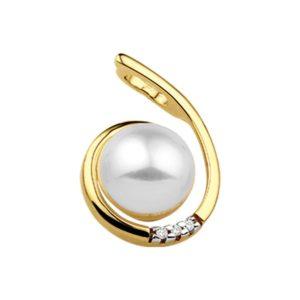 14 krt geelgouden Hanger parel en diamant 0.015ct H SI model. 4013042