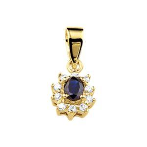 14 krt geelgouden Hanger saffier en diamant 0.08 ct. model. 4007154