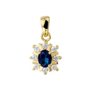 14 krt geelgouden Hanger saffier en diamant 0.152 ct. model. 4002263