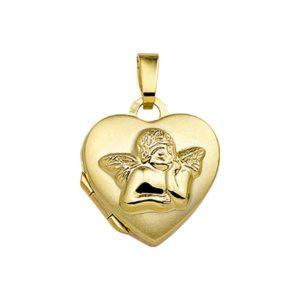 14 krt geelgouden Medaillon hart en cupido model. 4017102