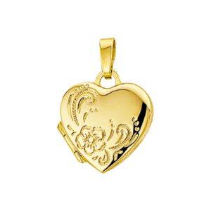 14 krt geelgouden Medaillon hart gravure  model. 4005922