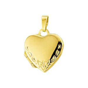 14 krt geelgouden Medaillon hart gravure  model. 4005926