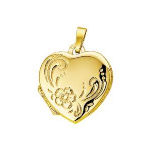 14 krt geelgouden Medaillon hart gravure  model. 4005930