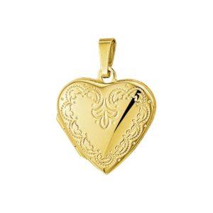 14 krt geelgouden Medaillon hart gravure  model. 4005936