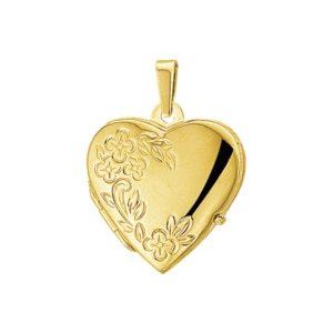 14 krt geelgouden Medaillon hart gravure poli/mat model. 4015854