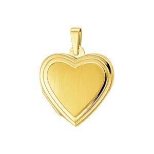 14 krt geelgouden Medaillon hart poli/mat model. 4008565